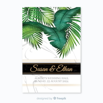 Invitación tropical de boda