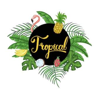 Invitación tropical hawaiana tropical de la fiesta con hojas de palma.
