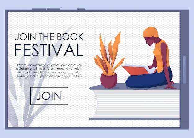 Invitación únase a la página de aterrizaje móvil de book fest