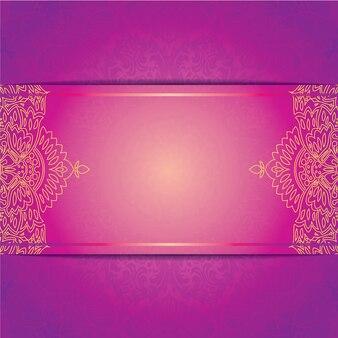 Invitación de vector plantilla de tarjeta de boda con el ornamento floral de patern redondo