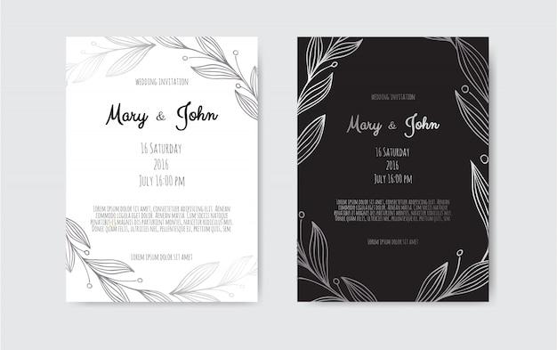 Invitación de vector de plata con elementos florales