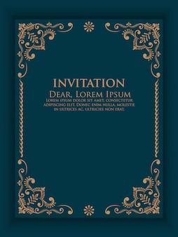 Invitación de vector, tarjetas con elementos étnicos arabescos.