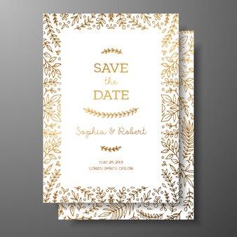 Invitación vintage de boda con adornos botánicos dorados.