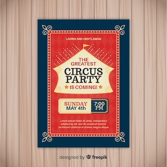 Invitación vintage estilo circo para fiesta