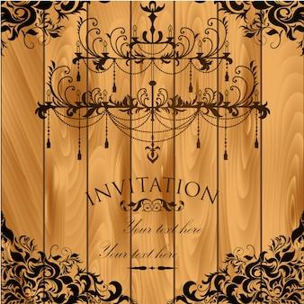 Invitación vintage con fondo de madera