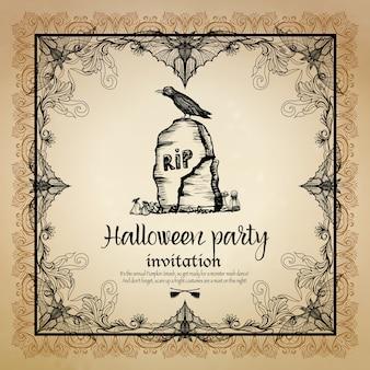 Invitación vintage de halloween con marco