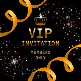 Invitación vip, miembros solo letras con corona de oro