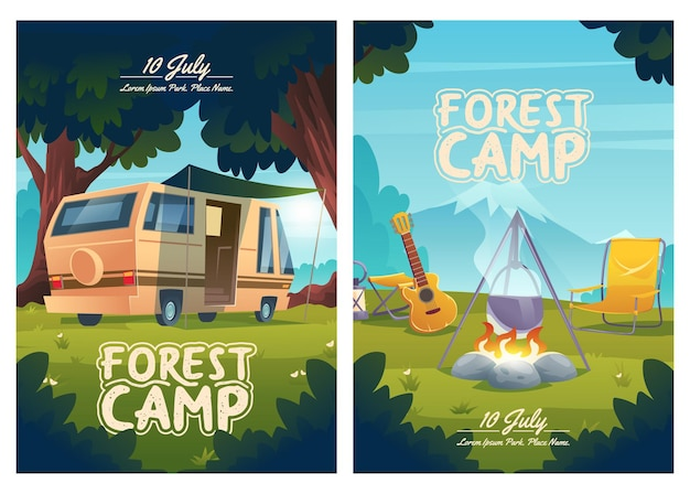 Invitación de volantes de dibujos animados del campamento forestal para acampar en el verano, caravana, fogata con olla y guitarra en la vista de la montaña, viaje de verano, senderismo, al aire libre, carteles