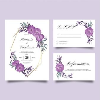 Invitaciones de boda con decoraciones de flores de acuarela púrpura