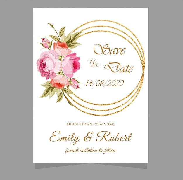 Invitaciones de boda con diseño de línea geométrica dorada.