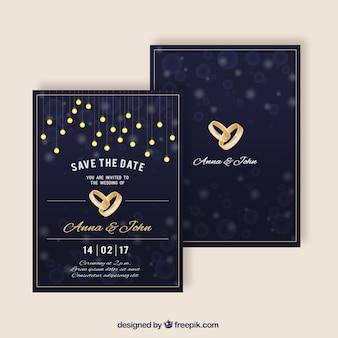 Invitaciones de boda elegantes con anillos dorados