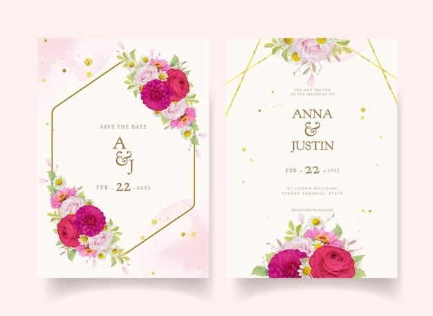 Invitaciones de boda elegantes con flores de acuarela rosa oscuro