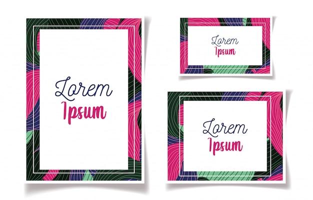 Invitaciones de boda florales de marco de follaje de color