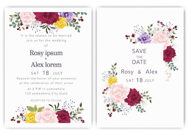 Las invitaciones de boda guardan el diseño de la tarjeta de fecha con una elegante anémona de jardín.