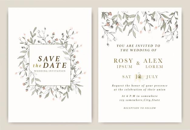 Las invitaciones de boda guardan la tarjeta de fecha con una elegante anémona de jardín.