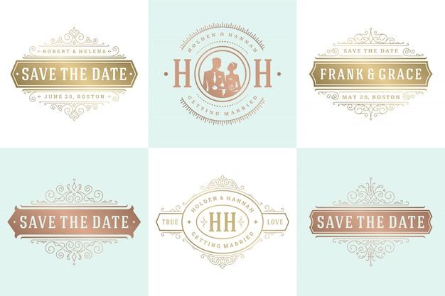 Invitaciones de boda guardar la fecha logotipos e insignias conjunto de plantillas elegantes de vector.