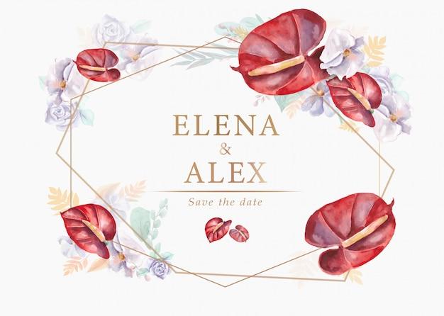 Invitaciones de boda con hermosas flores de acuarela sobre fondo blanco.