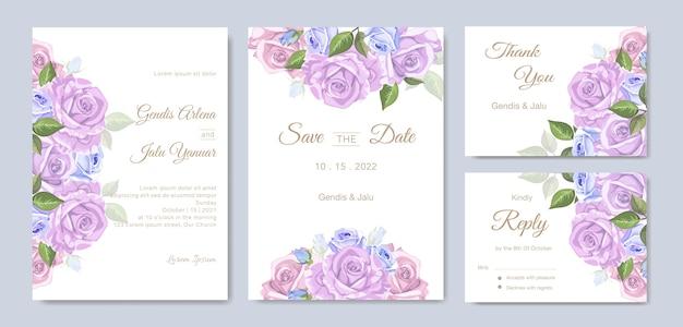 Invitaciones de boda con hermosas flores de acuarela