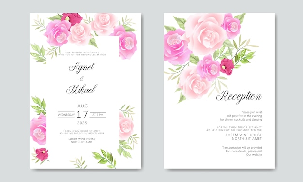Invitaciones de boda con hermosas hojas y flores