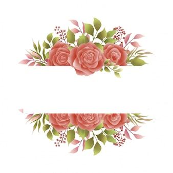 Invitaciones de boda de marco de flor rosa