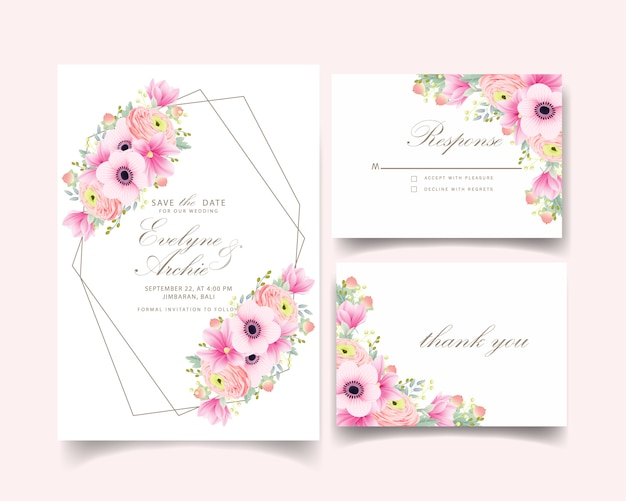 Invitaciones de boda ranunculus magnolia anémona flores