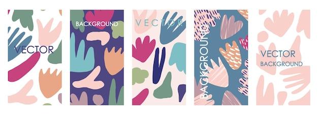 Invitaciones florales vívidas y diseño de plantillas de tarjetas. conjunto de vector abstracto a mano alzada de fondos abigarrados para pancartas, carteles, plantillas de diseño de portada