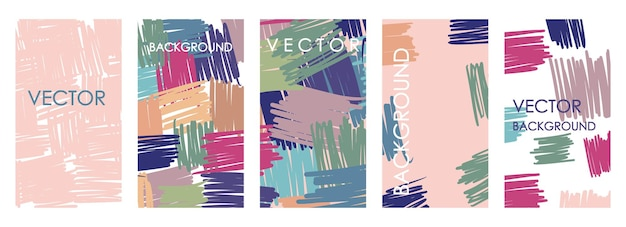 Invitaciones geométricas vívidas y diseño de plantillas de tarjetas. conjunto de vector abstracto a mano alzada de fondos abigarrados para pancartas, carteles, plantillas de diseño de portada