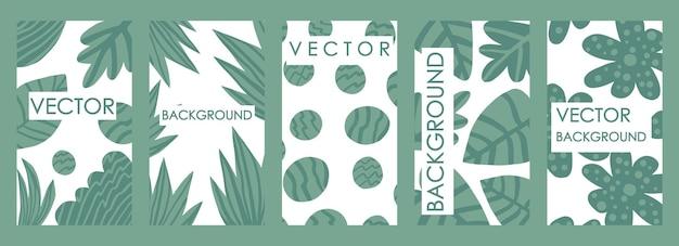 Invitaciones de hojas tropicales contemporáneas y diseño de plantillas de tarjetas. conjunto de vector abstracto moderno de fondos florales abstractos para pancartas, carteles, plantillas de diseño de portada