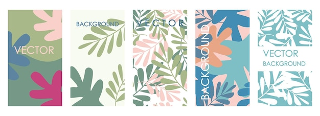 Invitaciones de hojas tropicales modernas y diseño de plantilla de tarjeta. conjunto de vector abstracto de fondos florales abstractos para pancartas, carteles, plantillas de diseño de portada