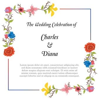 Invitaion floral de la boda del vintage