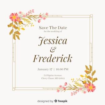 Invitatio de boda con marco floral en diseño plano