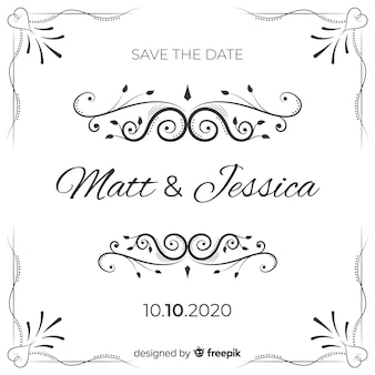 Invitatio de guardar la fecha de boda ornamental