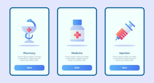 Inyección de medicina de farmacia de icono médico para aplicaciones móviles