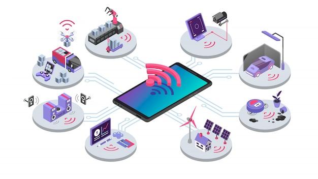 Iot ilustración de color isométrica. dispositivos de control remoto en línea. sistema de casa inteligente. computación en la nube, conexión inalámbrica electrónica. internet del concepto de cosas sobre fondo blanco