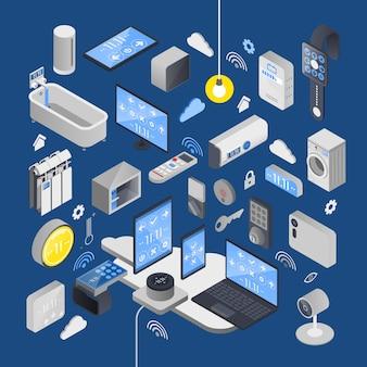 Iot internet de las cosas composición isométrica