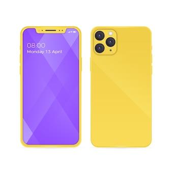 Iphone 11 realista con carcasa trasera amarilla y teléfono abierto