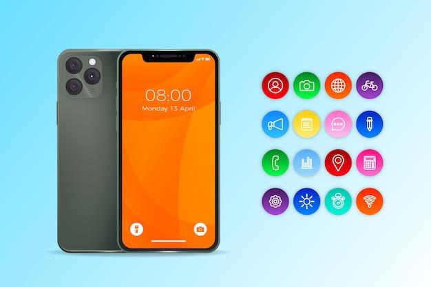Iphone con diseño realista de aplicaciones
