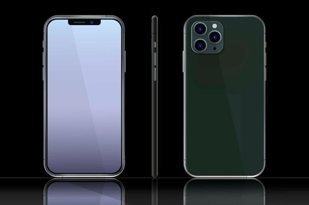 Iphone realista en diferentes puntos de vista