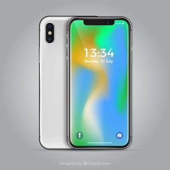 Iphone x con fondo degradado