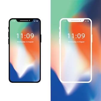 Iphone x con fondo de pantalla degradado