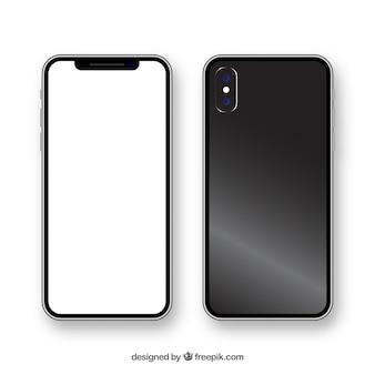 Iphone x realista con pantalla blanca