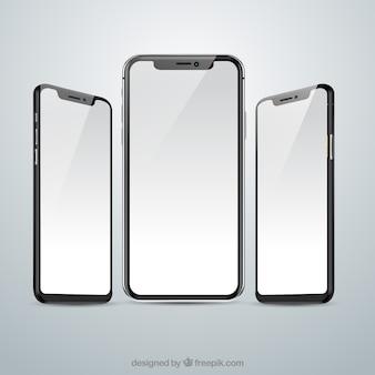 Iphone x con vistas diferentes en estilo realista