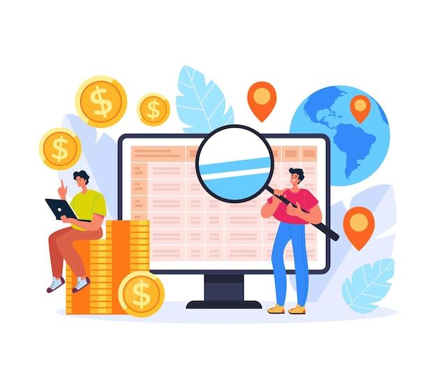 Ipo búsqueda global inversión aumentar concepto comercial diseño gráfico plano ilustración