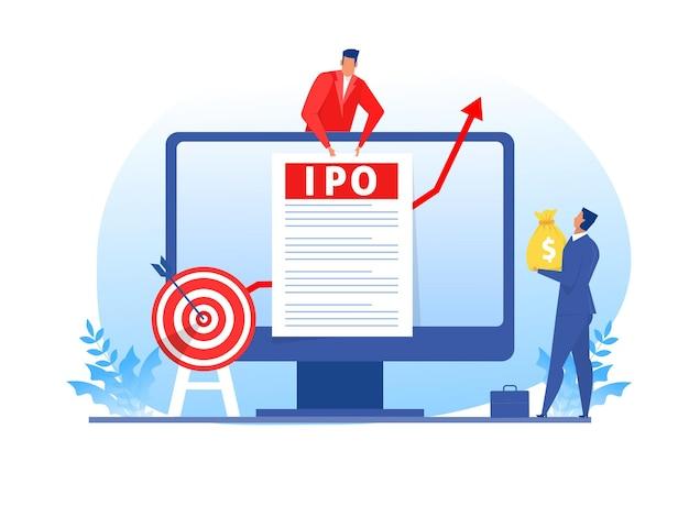 Ipo, oferta pública inicial. oferta de empresario invertir en computadora portátil, ilustración plana.