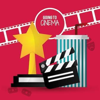 Ir a cine película badajo tira premio de soda con paja