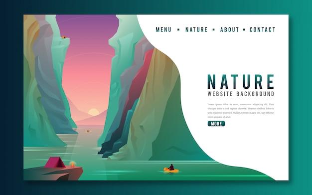 Ir a través de la página de aterrizaje web de aventura colorida montaña