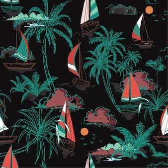 Isla de patrones sin fisuras de verano colorido con barco