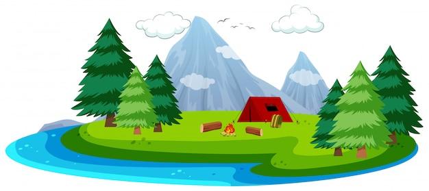 Isla de dibujos animados escena de camping