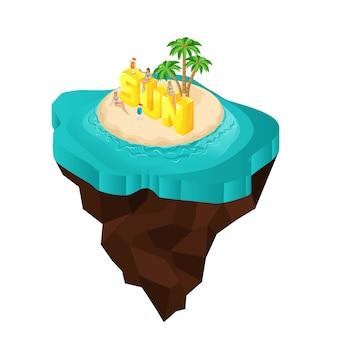 Isla de hadas, dibujos animados, chicas sentadas en letras grandes, fuente, sol, mar
