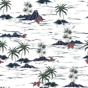 Isla hermosa sin costura patrón dibujado a mano estilo